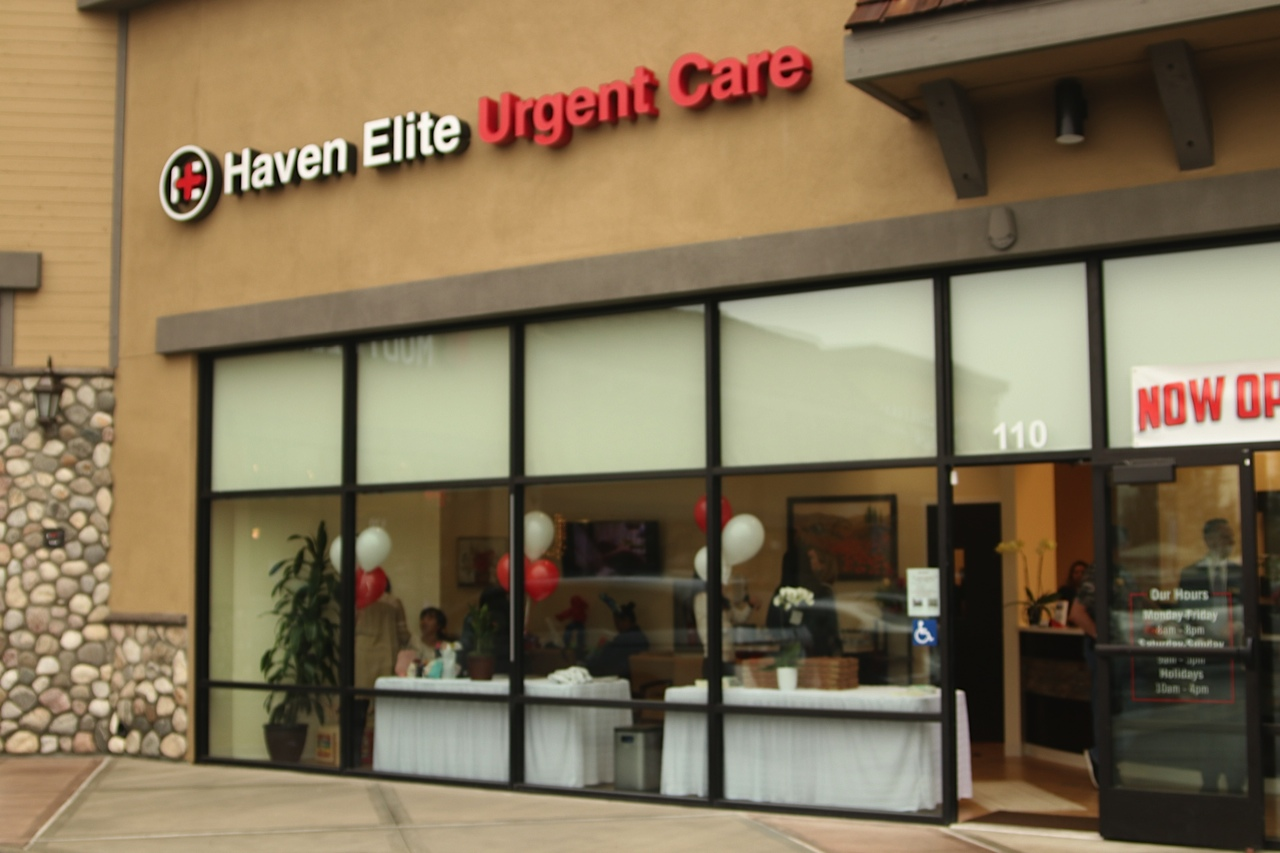 view from outside clinic for grand opening event at haven elite urgent care