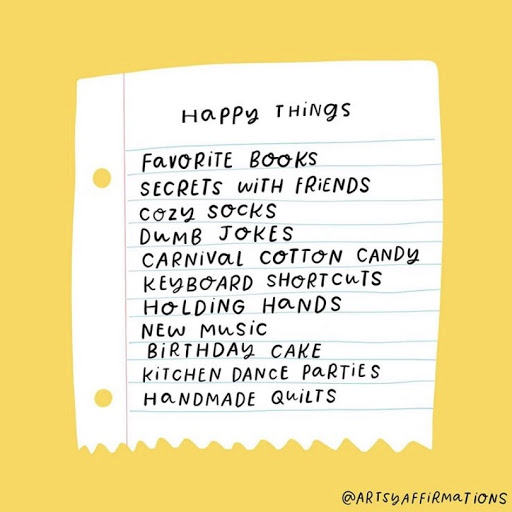 picture of a list of happy things to do