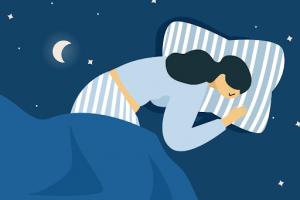 image of a lady sleeping at night