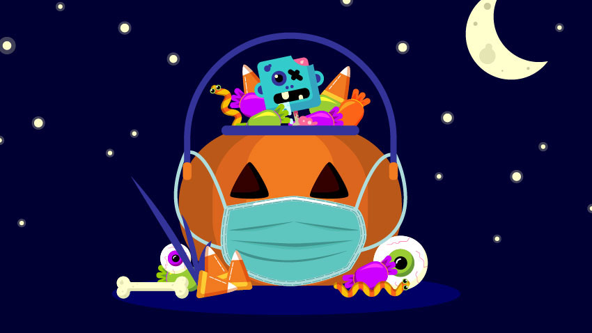 cartoon pumpkin and treating wearing mask for Halloween during a pandemic