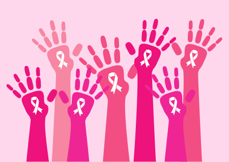 pink shade colored arm and hands with pink ribbon for breast cancer awareness