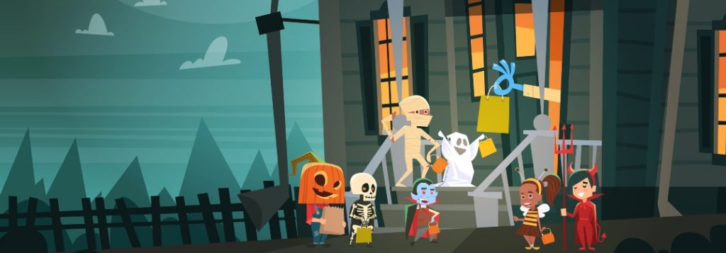 cartoon children dressed up celebrating Halloween during a pandemic