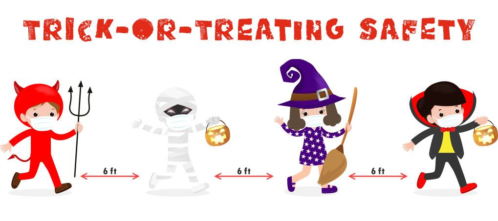 chilred dressing up celebrating on Halloween during a pandemic practicing social distancing